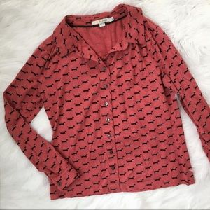 Boden Pink Dachshund Dog Print Shirt